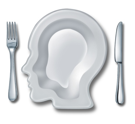 eat right: Smart eating and recipe menu planning with a white ceramic plate in the shape of a human head as an intelligent food guide concept for healthy living and dieting choices