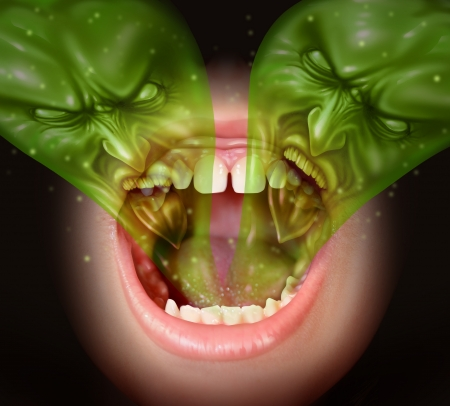 swearing: Bad breath as garlic smell eminating from inside a human mouth as a health concept of an offensive foul odour caused by smoking or eating with a green gas shaped as evil faces over an open human mouth
