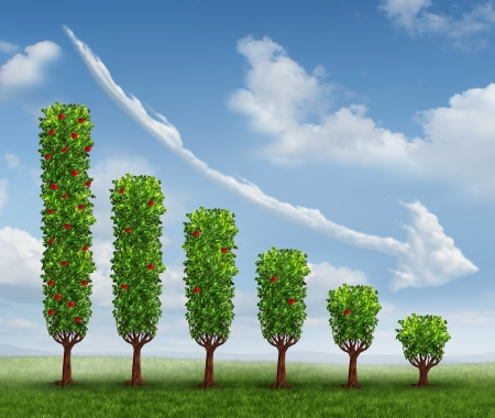 shrinkage: Business decrease and profit reduction as a group of fruit trees as a financial graph declining in size due to loss with a cloud shaped arrow pointing down as a finance concept  Stock Photo
