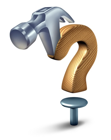 Construction questions ad building codes uncertainty in the home builder and renovation industry with a hammer shaped as a question mark floating over a nail on a white background Stock Photo - 19265908
