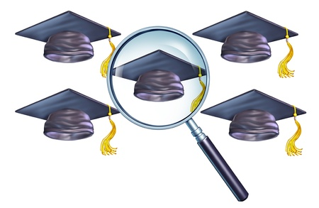 Education search and choosing the best school or university as the number one choice represented by a magnifying glass selecting a graduation cap on an isolated white background  Stock Photo - 19265932