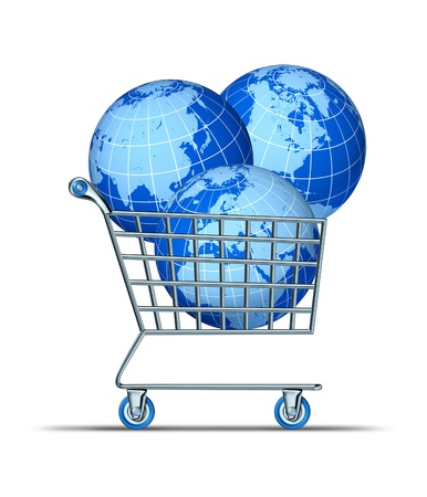 global investing: Global purchase and international investing with three world spheres in a shopping cart representing Asia North America Europe Africa and parts of south America as financial concept