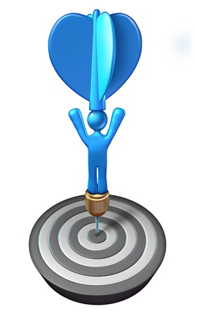 Human strategy achievement with a person icon shaped as a blue dart at the bulls eye of a target as a business and life concept of ambition and success isolated on a white background  photo