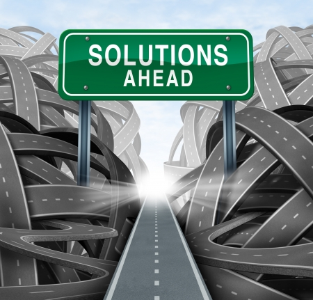 confusion: Solutions ahead and business answers concept with a green highway sign as an icon of breaking out from a confusion of tangled roads with a clear strategic path