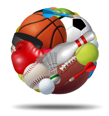 organized group: Sports ball as a sphere made with an organized group of sport equipment as football basketball hockey golf soccer bowling tennis badminton football baseball darts and boxing on a white background  Stock Photo