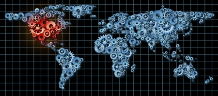 American economy business concept with a world map made of gears and cogs with the United states and north America highlighted in red as an idea of economic growth and financial success in America  photo