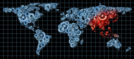 made in china: Asia economy and Asian economic activity as a business concept with a world map made of gears and cogs with China Japan Korea highlighted in red as an idea of economic growth  Stock Photo