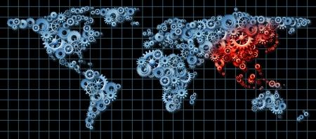 actividad econ�mica: Econom�a de Asia y de la actividad econ�mica de Asia como un concepto de negocio con un mapa del mundo hecho de engranajes y ruedas dentadas con China Jap�n Corea destacan en rojo como una idea de crecimiento econ�mico