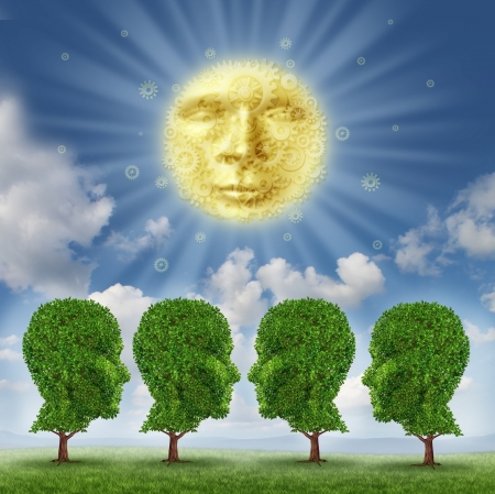 advancement: Education leadership and enlightenment concept with a glowing sun as a face made of gears and cogs feeding growing green trees shaped as a group of human heads as an idea of learning for career advancement  Stock Photo