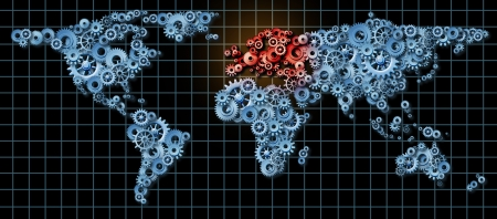 European economy business concept with a world map made of gears and cogs with Europe highlighted in red as an idea of economic growth and financial success in countries as England France Germany Italy Spain  photo