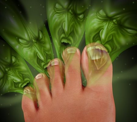 odor: Foot Odor and smelly feet concept with human toes releasing an awful stink as green monster faced gases coming from the sweaty perspired skin as a podiatric medicine health symbol of bacterial infection