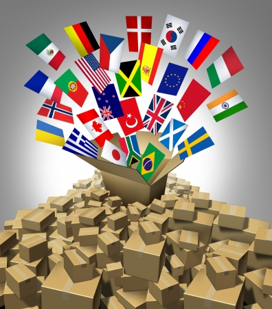 international shipping: Global delivery Shipping and international package sending as a world parcel concept made of a mountain of cardboard boxes as a volcanoe with a group of flags as a symbol of fast service  Stock Photo