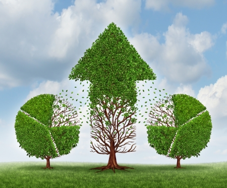 lending: Investing for growth business concept with trees shaped as a financial pie chart transferring and lending assets to a growing arrow shaped plant as an idea of growing wealth strategy on a sky  Stock Photo