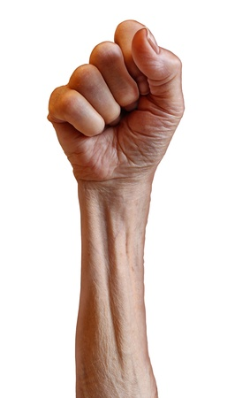 invincible: Senior power as a old person struggle for political rights as a revolution fist with the arm and clenched human hand of an elderly grandparent isolated on a white background