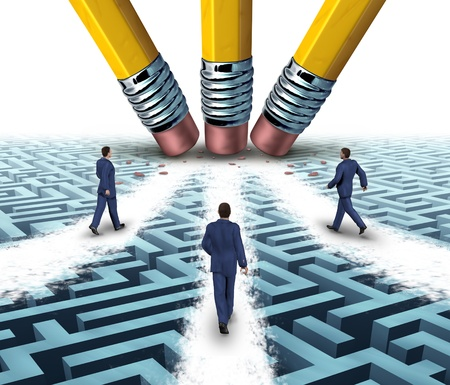 Team solutions with a group of business people walking over a clear path on a confusing maze or labyrinth that has been cleared by three pencil erasers as a teamwork business concept  Stock Photo - 19446914