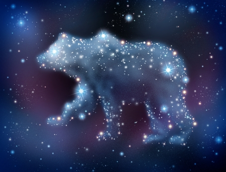 bear market: Bear market predictions concept and analyzing the stock market to predict a negative sentiment for the investing community with a night sky constelation of glowing stars shaped as a symbol of trading loss