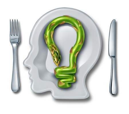 eat right: Cooking ideas with a white ceramic plate in the shape of a human head and an asparagus vegetable shaped as a light bulb as a food creativity concept of creatve cuisine on a white background  Stock Photo