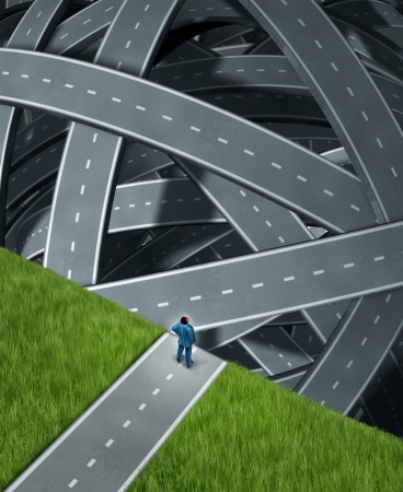 Journey confusion and facing challenges with a businessman at the edge of a cliff in front of a group of tangled three dimensional roads and highwaysas a business concept of planning and managing adversity