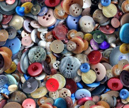 Group of old generic clothing and textile buttons as a fashion design concept for the garment business and apparel industry as a symbol of creative tailoring and dress making
