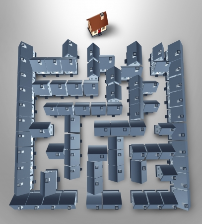 expertise: Home search and solutions as a real estate concept with a maze or labyrinth made of a group of grey homes and a perfect family house at the end of the puzzle as a result of residential advice