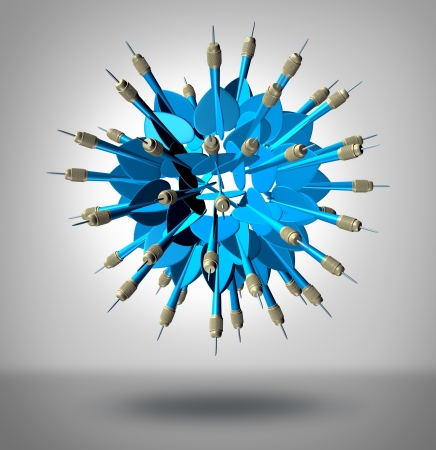Increase your odds and improve the chances of success as a business concept with a group of three dimensional blue darts shaped as a sphere pointing in all directions as an insurance for hitting the target Stock Photo - 19446961