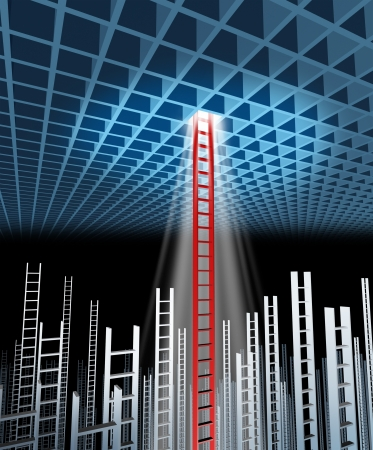 Leadership guidance with the ability and competence to succeed where others have failed with a three dimensional grid and a group of failed ladders with one red ladder as the leader of business success Stock Photo - 19446957