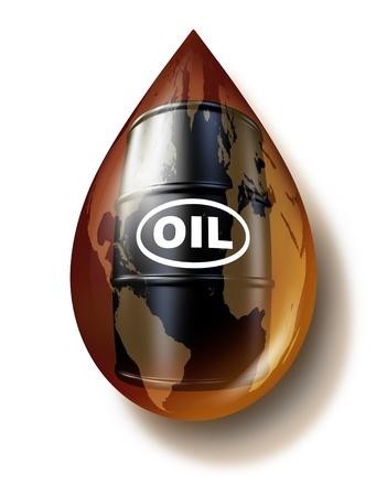 oil barrel: Industria del petr�leo y el negocio de los combustibles f�siles como un mapa del mundo en una gota de aceite con un barril tambor lata de gasolina como un concepto de productos para los recursos energ�ticos
