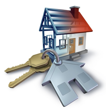 Real estate planning and building a home from blue print plans with house keys and a three dimensional residential structure on a white background  스톡 콘텐츠