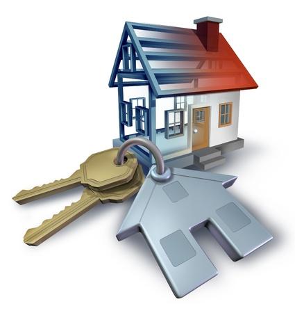 Real estate planning en het bouwen van een huis van het blauwdruk plannen met huissleutels en een driedimensionale structuur woon op een witte achtergrond