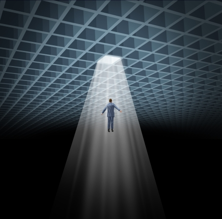 fulfillment: Solution guidance with a business man being guided to an illuminated shinning opening  from an abstract three dimensional grid geometry as a concept of success and fulfillment of a goal  Stock Photo