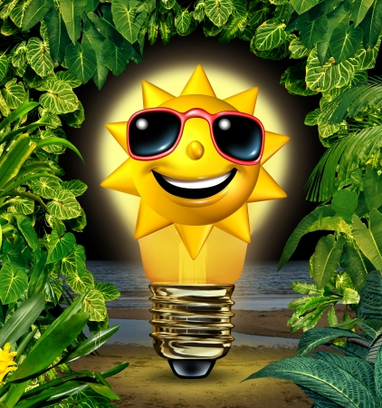 shinning: Vacation ideas and holiday planning solutions with a happy sun character in a shinning glowing light bulb in a night time tropical plants setting as a travel and traveling concept