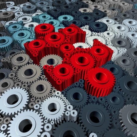 depending: Business communication concept with a group of three dimensional gears and cogs shaped as jigsaw puzzle pieces connected together as a strong working partnership.