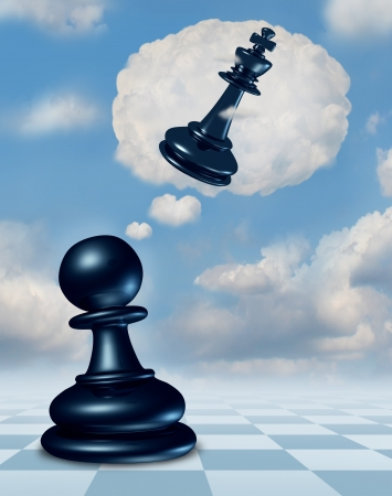 power within: Dreaming of success with a chess game pawn piece having aspirations of becoming a king and leader with a thought bubble made of clouds thinking for the future as a business concept of planning and strategy.