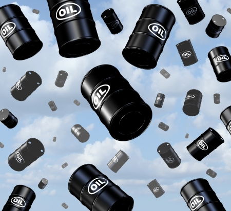 Falling oil prices with a group of three dimensional crude barrels and drum containers as they fall from the sky as a business concept of the gasoline energy and fossil fuel industry