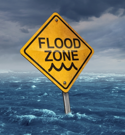 water damage: Flood warning concept
