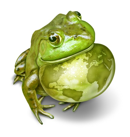 amphibian: Global conservation and environmental protection symbol as a green frog and an inflated throat with the world map as a birth mark on the amphibian skin as a concept of protecting habitats  Stock Photo