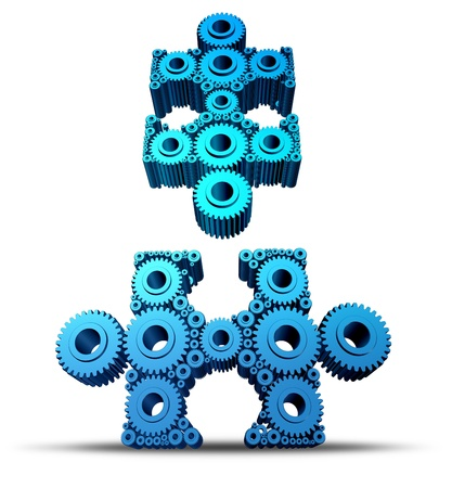 merging together: Group connections with two connected networks of gears and cogs shaped as jigsaw puzzle pieces Stock Photo