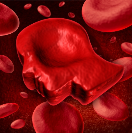 Human Blood health care and medical concept with red blood cells flowing in a vein with one in the shape of a persons head as a symbol of the brain and the circulatory system  photo