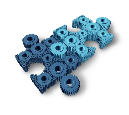 strong partnership: Jigsaw puzzle connections business concept building a working network partnership for communication between two groups of teams as three dimensional gears and cogs shaped as pieces from puzzles connected together  Stock Photo