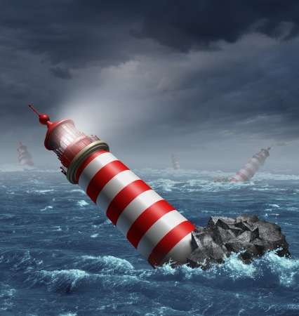 disoriented: Lost direction and losing focus on a journey with a group of disoriented light house towers fallen in the ocean as a business and financial concept of challenges in guidance  Stock Photo