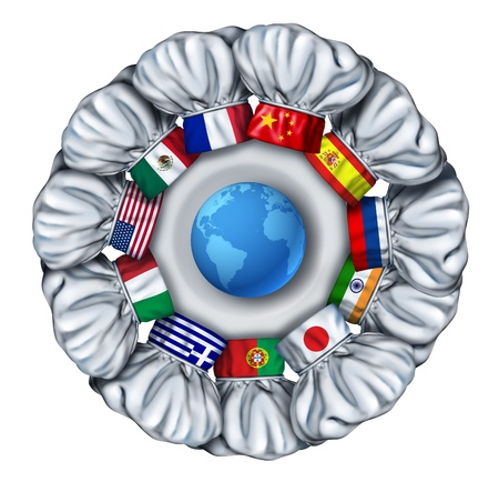 culinary: World cooking and international food dishes with a group of chef hats from around the world as Italian Chinese French around a white plate with a globe of the earch  Stock Photo