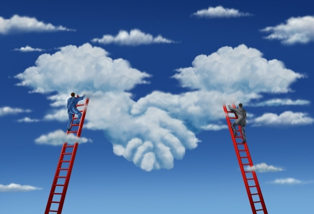 deal in: Agreement plan and business deal with a business group of two businessmen climbing ladders working together in partnership to shape clouds in the sky as a symbolic handshake  Stock Photo