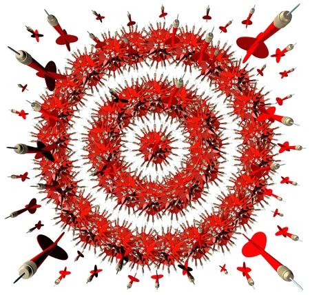 Aiming For You with a group of red darts shaped as a bulleye target aimed at the viewer as a business concept of being hunted for employment opportunity or competition on the attack fighting back Stock Photo - 19703992