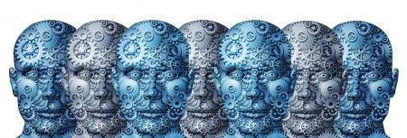 management meeting: Business team connected network of people with a working group human heads made of gears and cogs as a concept of strong organization cooperation on a white background