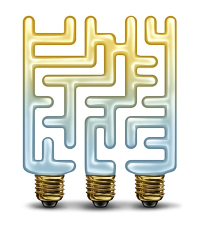 Creative challenges and problem solving business concept with a group of glass illuminated light bulbs shaped as a maze or labyrinth as a symbol of finding a new idea or solution on a white background  Stock Photo - 19703563