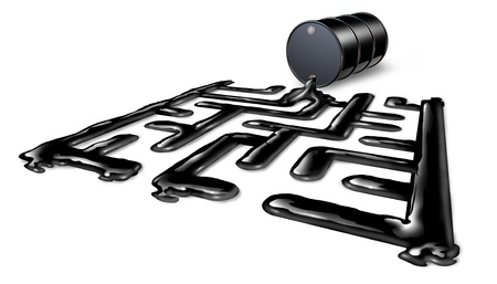 Energy Challenges business concept as an oil spill shaped as a maze or labyrinth from a crude drum barrel as a symbol of understanding and managing the  price of energy and power on a whitebackground Stock Photo - 19703562