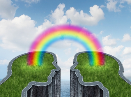 answers highway: Bridge success concept with two islands and a road or highway shaped as a human head being connected by a bright rainbow as a business symbol of creative cooperation and successful teamwork on a summer ocean sky