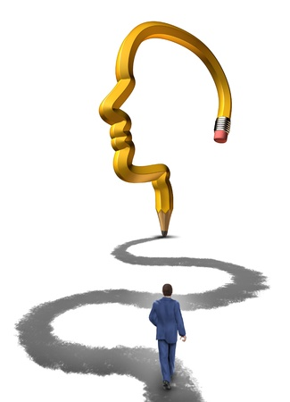 career counseling: Planning your future with a strategic career plan as a businessman walking on a path drawn by a pencil shaped as a human head on a white background