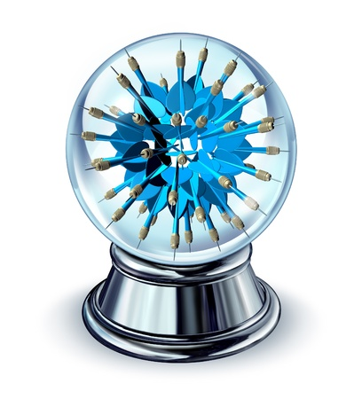 predictions: Target predictions and future business strategy forecast as a crystal ball with a group of blue darts going in all directions as a concept of predicting financial opportunity