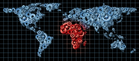 Africa economy activity as a business concept with a world map made of gears and cogs with Egypt Libya Nigeria Morocco highlighted in red as an idea of economic growth